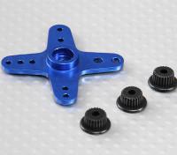 Aluminium Cross Universal Servo Arm - JR, Futaba et HITEC (Bleu)