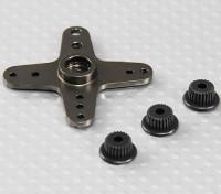 Aluminium Cross Universal Servo Arm - JR, Futaba et HITEC (Gunmetal)