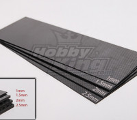 Tissé Carbon Fiber Sheet 300x100 (2.0mm épais)
