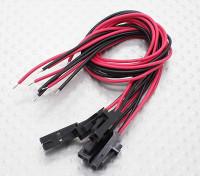 fiche mâle Molex 2 broches rouge 20cm / noir avec du fil PVC 26AWG (5pcs)