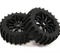 1/8 Scale Black Multi Spoke Wheels Avec Paddle style Pneus (2pc)