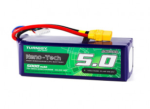 Turnigy Nano-Tech 5000mAh 6S 70C Lipo Pack w/XT90 (HR Technology)