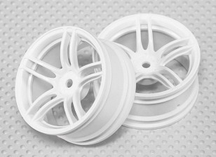 Échelle 1:10 Set de roue (2pcs) Blanc de Split 5-Spoke RC 26mm de voiture (3mm offset)