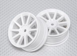 Échelle 1:10 Wheel Set (2pcs) Blanc 10-Spoke 26mm de voiture RC (pas de décalage)