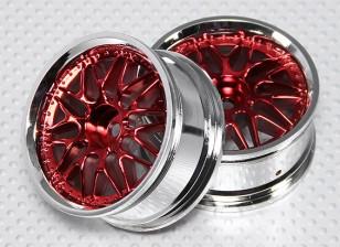 Échelle 1:10 Set de roue (2pcs) Rouge / Chrome de Split à 10 rayons 26mm de voiture RC (pas de décalage)