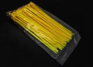 Zip électrique / 4mm attaches de câble en nylon x 150mm - 100 / sac (Jaune)