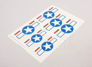 Échelle nationale Air Force Insignia Decal Sheet - USA (Stars and Bars)