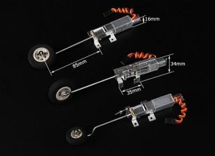 Turnigy 90 degrés tout métal Tricycle système Retract w / 3mm Legs de fil (2 kg AUW Max)