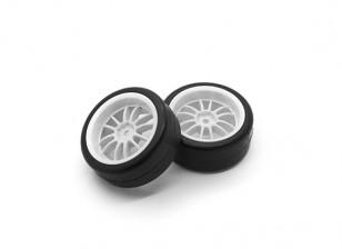 HobbyKing 1/10 Roue / Tire Set Y-Spoke (Blanc) RC arrière 26mm de voiture (2pcs)