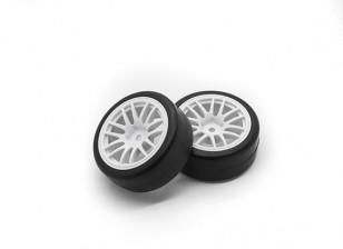 HobbyKing 1/10 Roue / Tire Set Y-Spoke (Blanc) RC 26mm de voitures (2pcs)