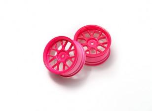 01:10 Wheel Set 'Y' 7-Spoke rose fluorescent (3mm Offset)