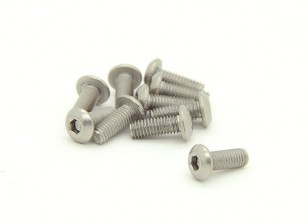 Titanium M3 x 8mm Dôme tête hexagonale Vis (10pcs / bag)