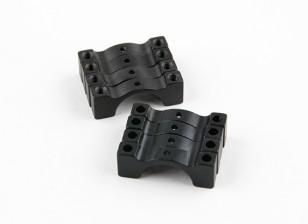 Anodisé noir double face CNC en aluminium Tube Clamp 14mm Diamètre