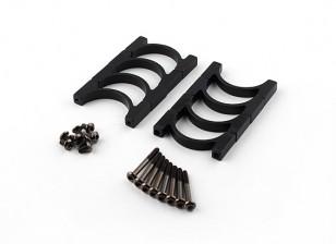 Anodisé noir double face CNC en aluminium Tube Clamp 25mm Diamètre