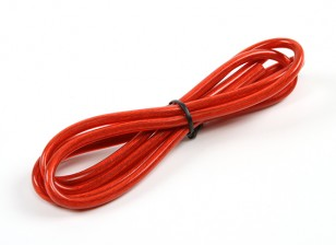 Turnigy Pure-silicone Fil 12AWG 1m (rouge translucide)