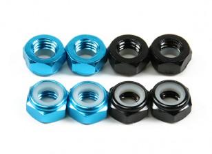 Aluminium Low Profile Nyloc Nut M5 (4 Black CW & 4 Light Blue CCW)