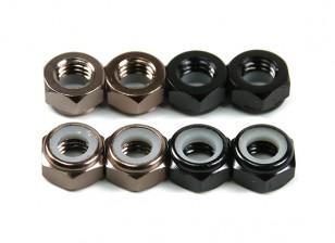 Aluminium Low Profile Nyloc Nut M5 (4 Black CW & 4 Titanium CCW)