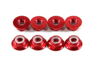 Aluminium Bride Low Profile Nyloc Nut M5 Red (CW) 8pcs