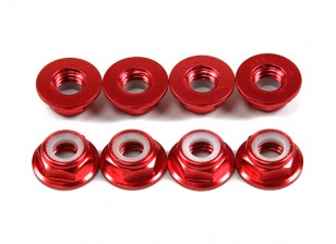 Aluminium Bride Low Profile Nyloc Nut M5 Rouge (CCW) 8pcs
