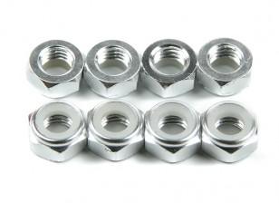 Aluminium Low Profile Nyloc Nut M5 Argent (CCW) 8pcs