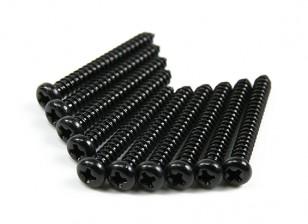 Screw Round Head Phillips M2.6x22mm Self Tapping Steel Black (10pcs)