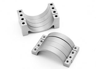 Argent anodisé CNC tube en alliage de demi-cercle de serrage (incl.screws) 22mm