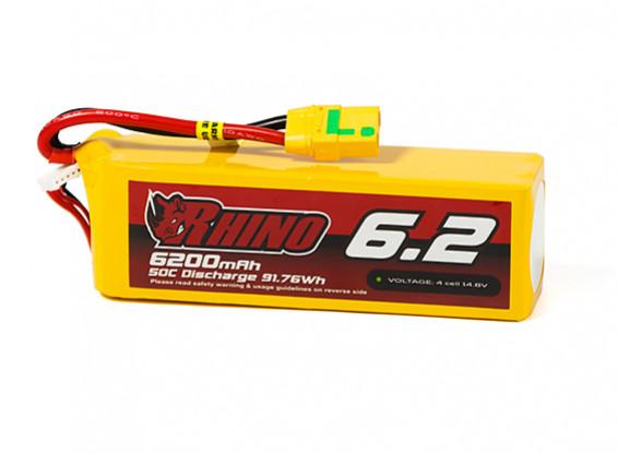 Rhino 6200mAh 4S 50C Lipo Pack w/XT90