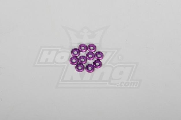 Metall-Finish Kappe für 3mm Schrauben für alle 30-90 helis Purple (10 Stück)