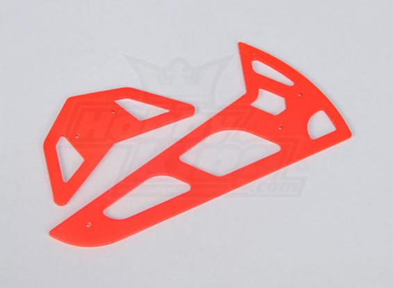Neon Red Fiberglas horizontale / vertikale Flossen Trex 600 Nitro / Elektro
