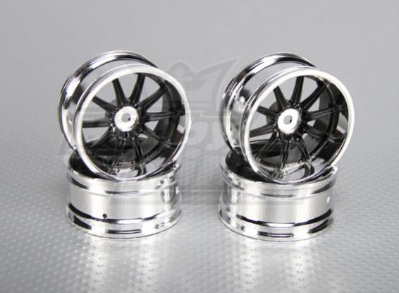 Maßstab 1:10 Wheel Set (4 Stück) Chrom / Schwarz 10-Speichen- RC Car 26mm (6mm Offset)