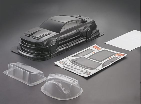 1/10 Mustang GT350-Carbon-Faser-Art-Auto-Körper-Shell (190mm)
