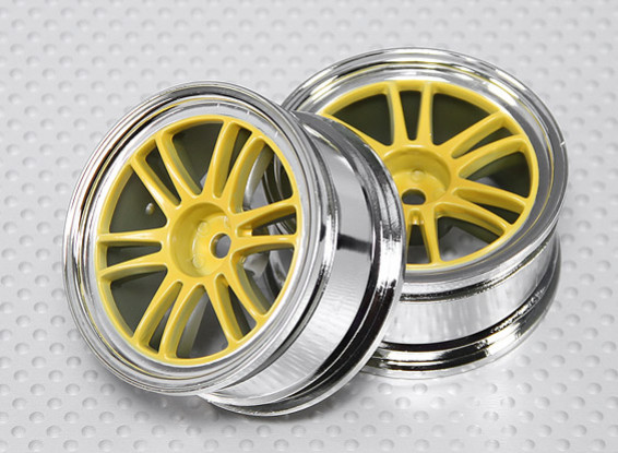 Maßstab 1:10 Rad Set (2 Stück) Chrom / Gelb Split 6-Spoke RC Car 26mm (kein Offset)
