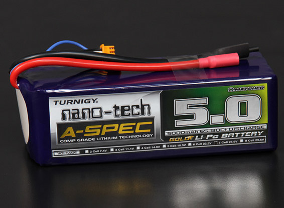 Turnigy Nano-Tech-A-SPEC 5000mAh 7S 65 ~ 130C Lipo-Pack