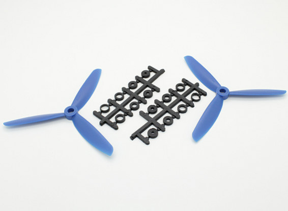 Hobbyking ™ 3-Blatt Propeller 5x4.5 Blau (CW / CCW) (2 Stück)