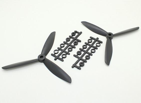 Hobbyking ™ 3-Blatt Propeller 6x4,5 Schwarz (CW / CCW) (2 Stück)