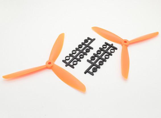 Hobbyking ™ 3-Blatt Propeller 7x4.5 Orange (CW / CCW) (2 Stück)