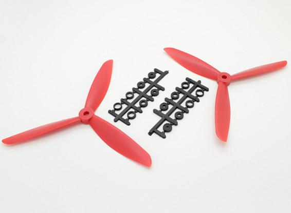 Hobbyking ™ 3-Blatt Propeller 7x4.5 Rot (CW / CCW) (2 Stück)