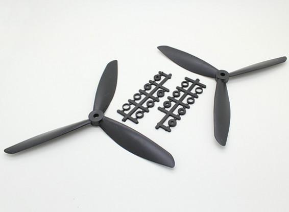 Hobbyking ™ 3-Blatt Propeller 8x4.5 Schwarz (CW / CCW) (2 Stück)