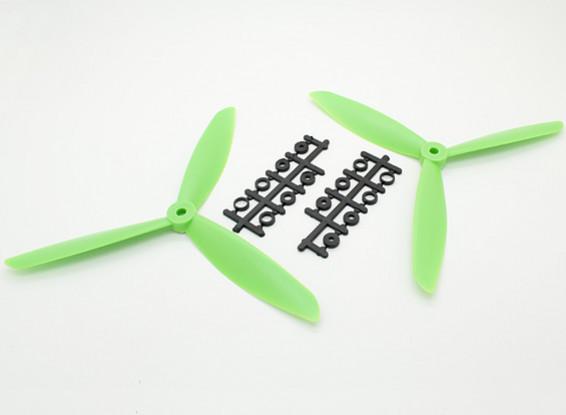 Hobbyking ™ 3-Blatt Propeller 8x4.5 Green (CW / CCW) (2 Stück)