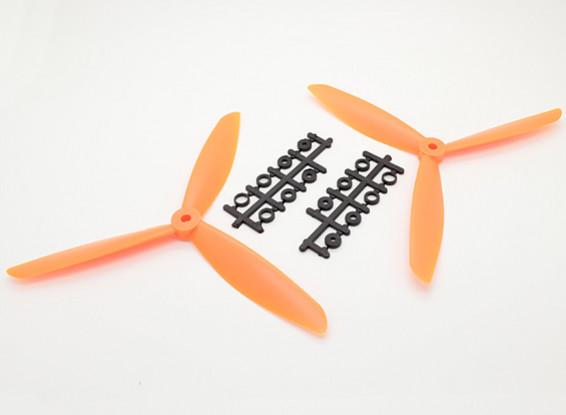 Hobbyking ™ 3-Blatt Propeller 8x4.5 Orange (CW / CCW) (2 Stück)