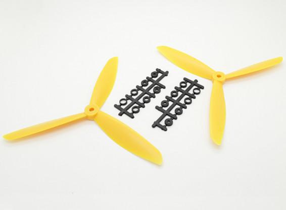 Hobbyking ™ 3-Blatt Propeller 8x4.5 Gelb (CW / CCW) (2 Stück)