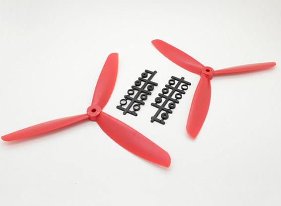 Hobbyking ™ 3-Blatt Propeller 9x4.5 Rot (CW / CCW) (2 Stück)