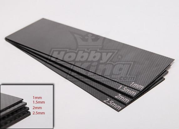 Gewebte Kohlefaser-Blatt 300x100 (2,5 mm Dicke)