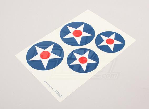 Skalieren Nationale Air Force Insignia Aufkleber Blatt - USA (große Typ A)