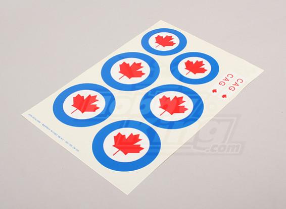 Skalieren Nationale Air Force Insignia Aufkleber Blatt - Kanada