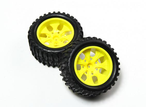HobbyKing® 1/10 Monster Truck 7-Speichen Fluorescent Yellow Wheel & Wellenmuster-Reifen (2pc)