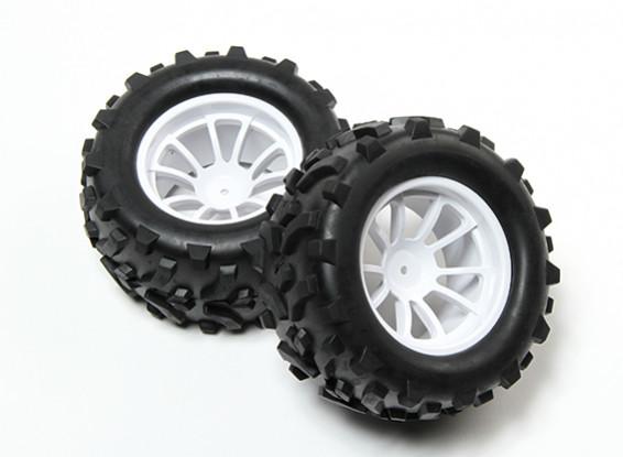 HobbyKing® 1/10 Monster Truck 10-Speichen-Weiß-Rad-und Pfeil-Muster-Reifen 12mm Hex (2pc)