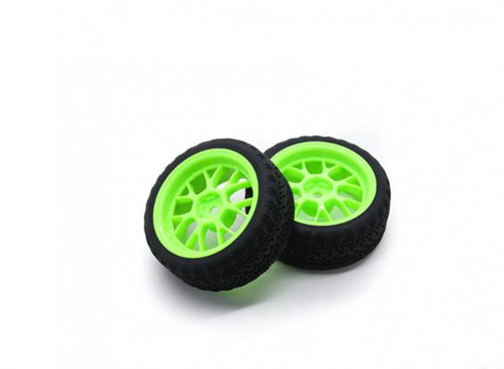 Hobbyking 1/10 Rad / Reifen-Set AF Rally Y-Speichen (Grün) RC Car 26mm (2 Stück)