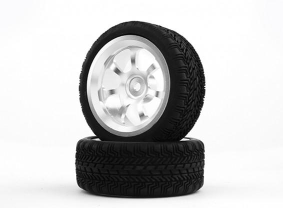 Hobbyking 1/10 Aluminium 7-Speichen 12mm Hex-Rad (Silber) / W Tire 26mm (2pcs / bag)