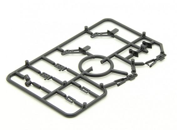 Mini Zubehörpaket mit 2 x Hörner, 2 x Scharniere, 2 x Rad Spannzangen und 2 x Gabelgelenke